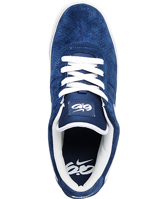 Nike 6.0 Mavrk 2 Low Navy & White Suede Skate Shoes