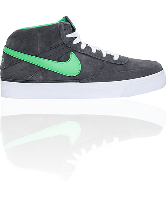 Nike 6.0 Mavrk Mid 2 Grey & Green Suede Skate Shoes