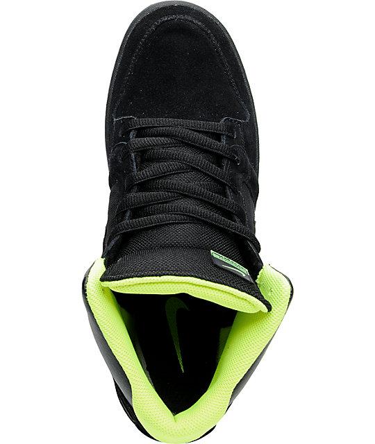 e428f5625764e7 ... Nike 6.0 Mogan 3 Mid Black   Volt Green Skate Shoes ...
