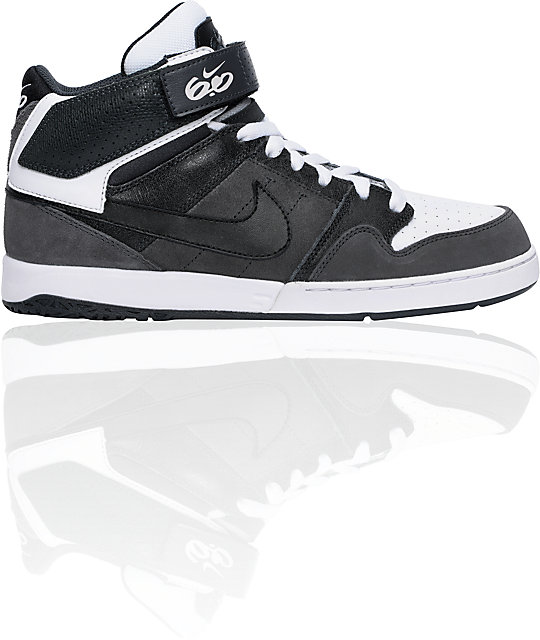 Nike 6.0 Zoom Mogan Mid 2 Grey, White, & Black Skate Shoes