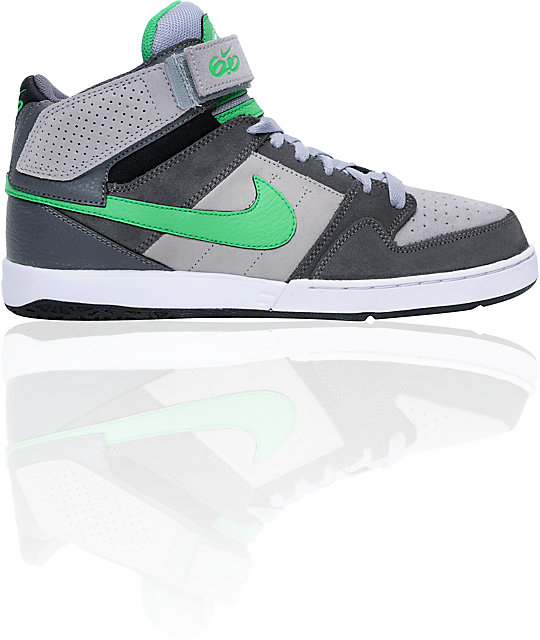 entire collection quality products cheap Nike 6.0 Zoom Mogan Mid 2 Grey, White, & Green Skate Shoes | Zumiez