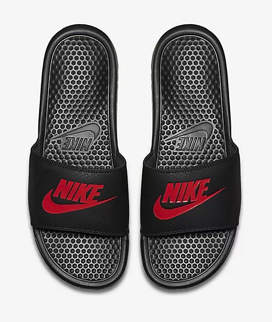 90431c7f2 Nike Benassi Black   Red Slide Sandals