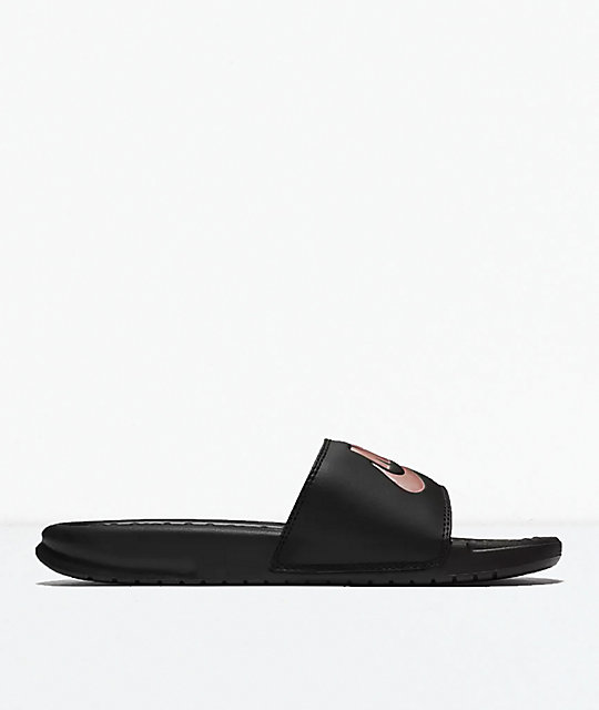 46ea1ef6c9a6 Nike Benassi Black   Rose Gold Slide Sandals