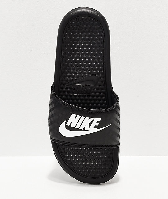 Nike Benassi Black & White Slide Sandals