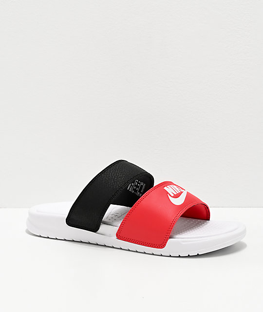 Nike Benassi Duo Ultra Red, Black & White Slide Sandals
