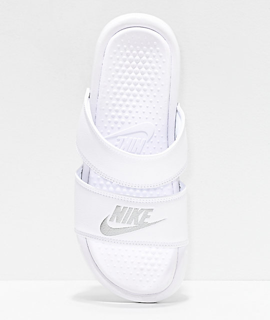 Nike Benassi Duo White Slide Sandals