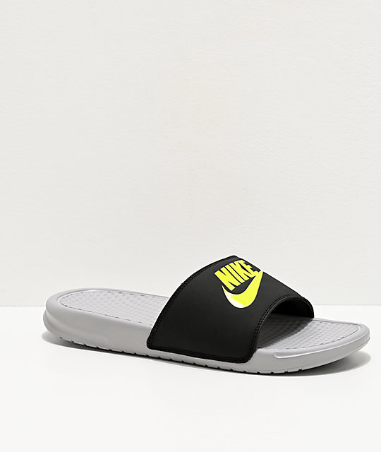 Nike Benassi JDI Wolf Grey, Volt & Black Slide Sandals