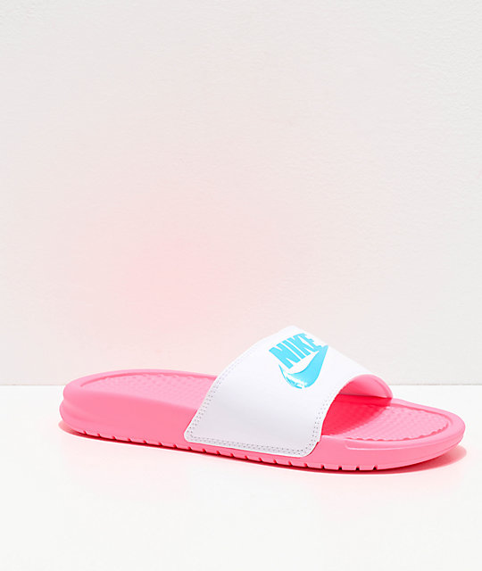 best website pre order purchase cheap Nike Benassi Pink & White Slide Sandals