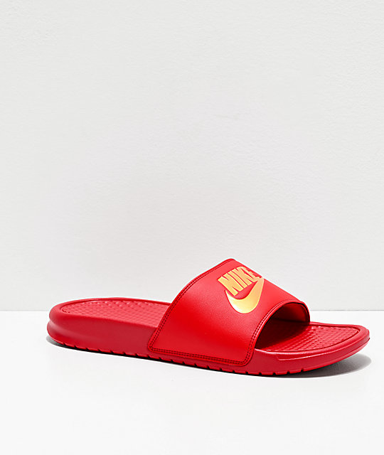 detailed images premium selection low cost Nike Benassi Red & Gold Slide Sandals