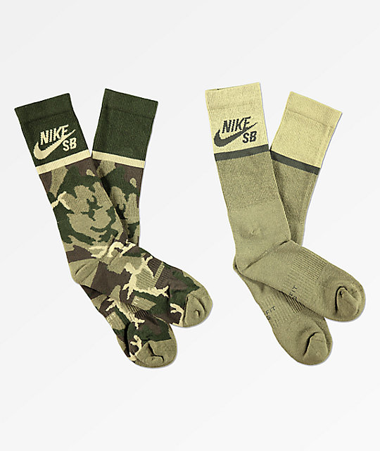 special price for purchase newest how to purchase Nike SB 2 Pack Camo Crew Socks