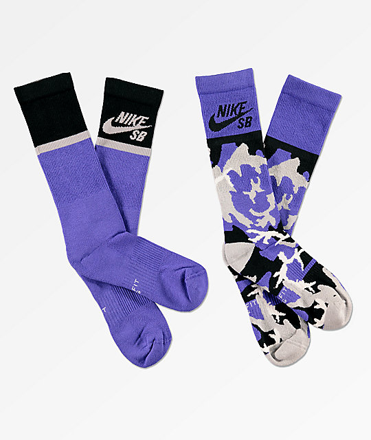 1c21e1374a9c Nike SB 2 Pack Energy Purple Crew Socks