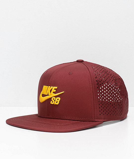 Nike SB Aero Pro Team Burgundy   Gold Snapback Hat  76bb99359de