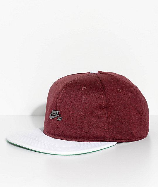 Nike SB AeroBill Dri-Fit Burgundy   White Strapback Hat  f2224769b99