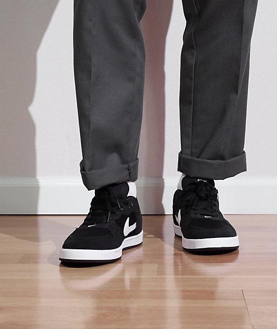 Nike SB Alleyoop Black & White Skate Shoes | Zumiez