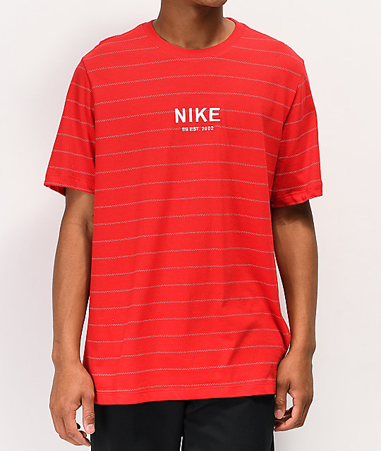 Nike Sb Allover Stripe Red T Shirt by Nike Sb