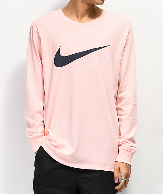 Nike SB Backwards Storm Pink Long Sleeve T-Shirt