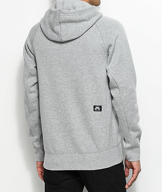 4a98442e61b6 Nike SB Banner Icon Heather Grey Pullover Hoodie