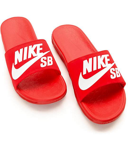 3c3b12e422b4 ... Nike SB Benassi SolarSoft Red   White Slides ...