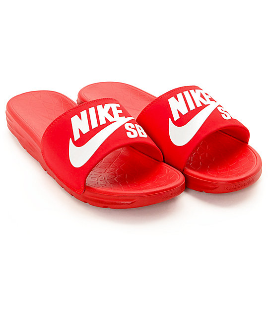 outlet store b3a22 a544b ... norway nike sb benassi solarsoft red white slides 79379 355e7