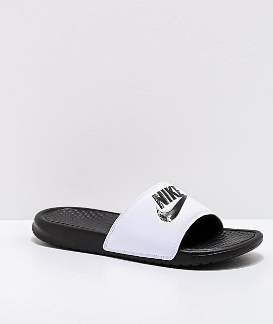 e83764a27c7f Nike SB Benassi White   Black Slide Sandals