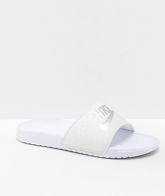 7f8edad1874dc3 Nike SB Benassi White   Metallic Silver Slide Sandals