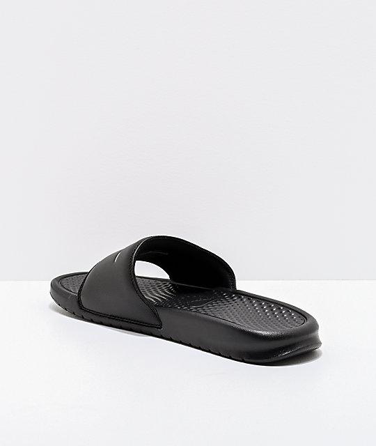 57bb9970dc4b ... Nike SB Benassi White Logo Black Slide Sandals ...