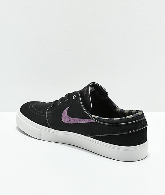 Nike SB Black, Purple & White Suede Skate Shoes