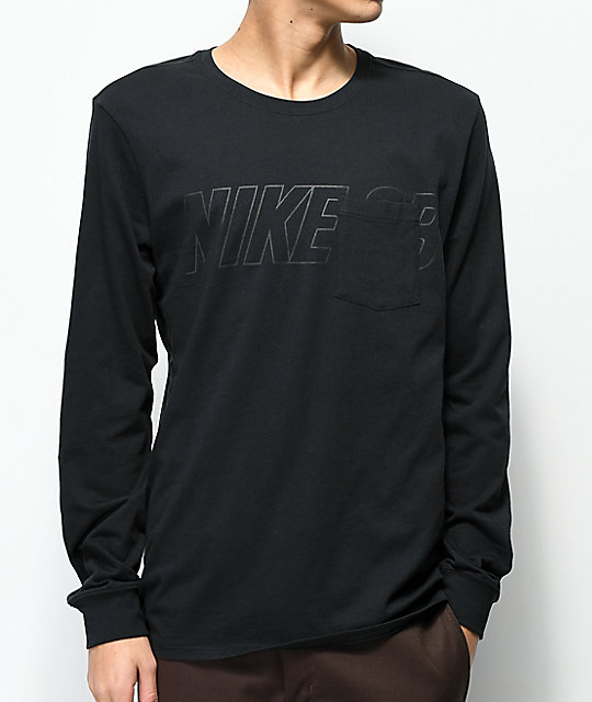 Nike SB Black Long Sleeve Pocket T-Shirt