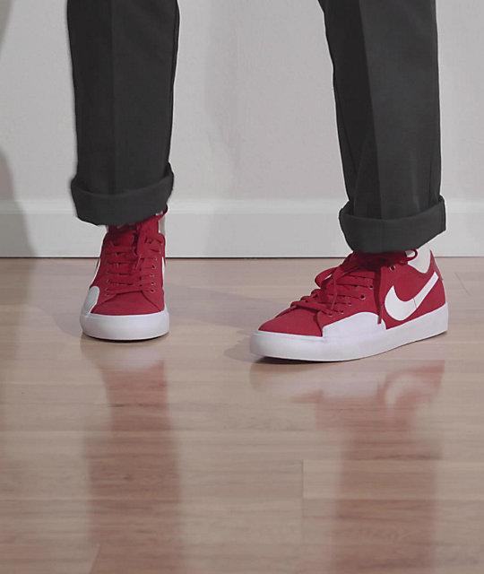 Nike SB Blazer Court Red & White Skate Shoes | Zumiez