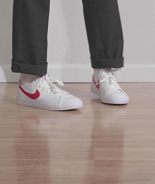 Nike SB Blazer Court White & Red Skate Shoes | Zumiez