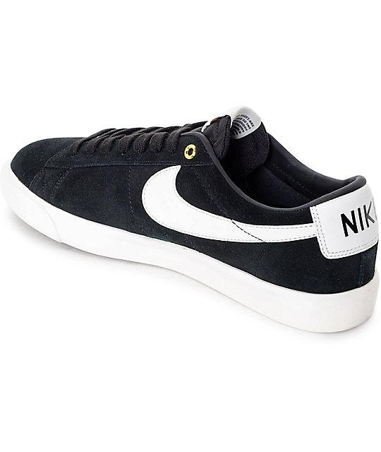 save off 41918 0280a ... Nike SB Blazer Low GT Black   White Skate Shoes ...