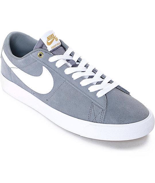 Nike SB Blazer Low GT Grey & White Skate Shoes ...