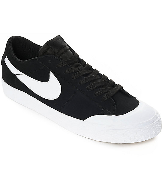 innovative design b0f9d c588a Nike SB Blazer XT Low Black   White Suede Skate Shoes   Zumiez