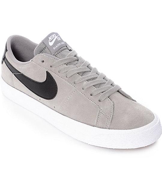 designer fashion 2018 sneakers big sale Nike SB Blazer Zoom Grey & White Suede Skate Shoes