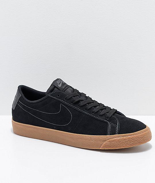 unique design sold worldwide high fashion Nike SB Blazer Zoom Low Black & Gum Skate Shoes