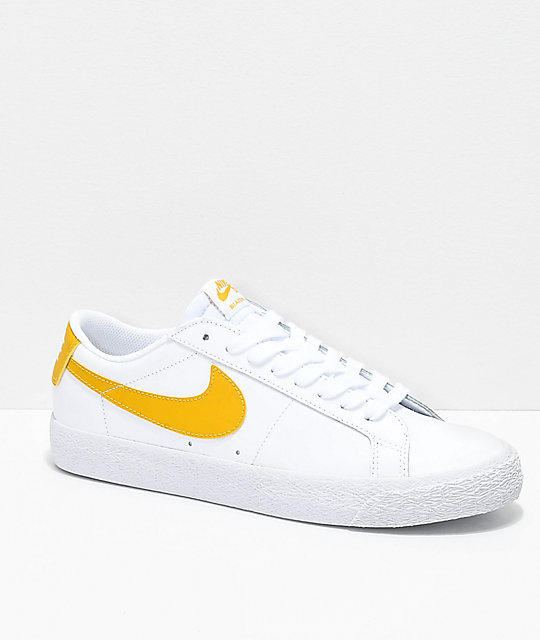 Nike SB Blazer Zoom Low White & Gold Leather Skate Shoes