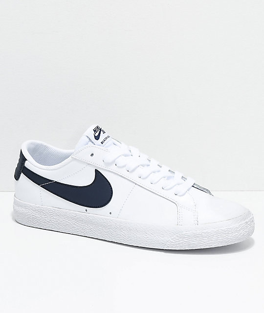 a5d4b34054a6 Nike SB Blazer Zoom Low White   Obsidian Leather Skate Shoes