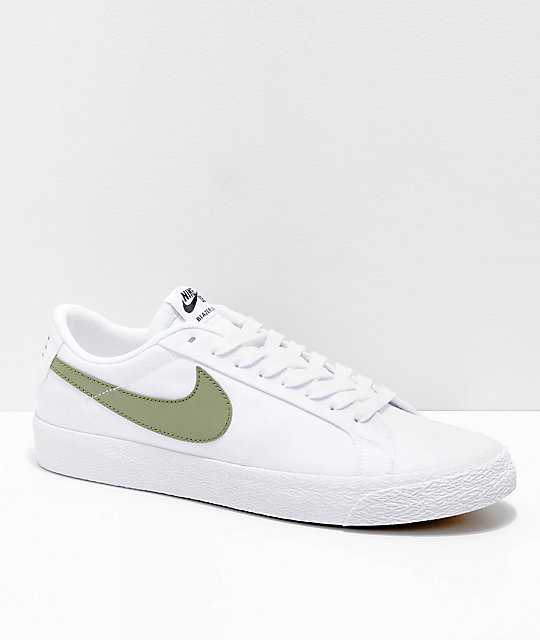 new concept 1815c 54ffd Nike SB Blazer Zoom Low White   Palm Canvas Skate Shoes   Zumiez