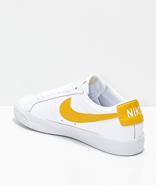 649ba7a2a727 ... france nike sb blazer zoom low white gold leather skate shoes a79ee  60655