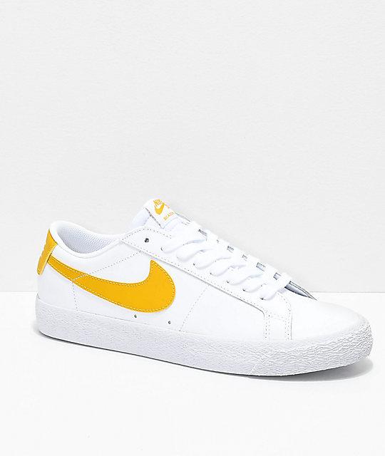 Nike SB Blazer Zoom Low White & Gold Leather Skate Shoes