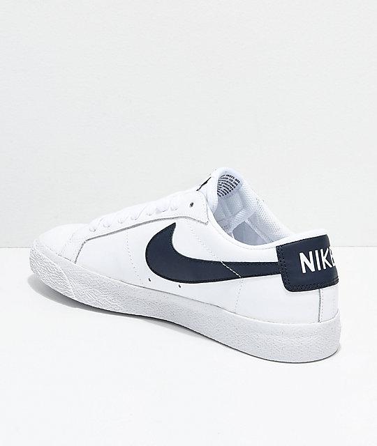 Nike SB Blazer Zoom Low White U0026 Obsidian Leather Skate Shoes | Zumiez