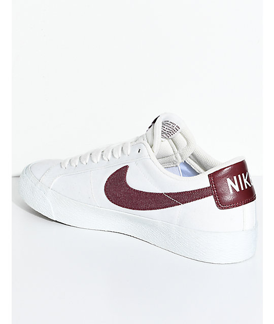 premium selection 8c7f7 cb594 Nike SB Blazer Zoom Summit White & Red Canvas Skate Shoes