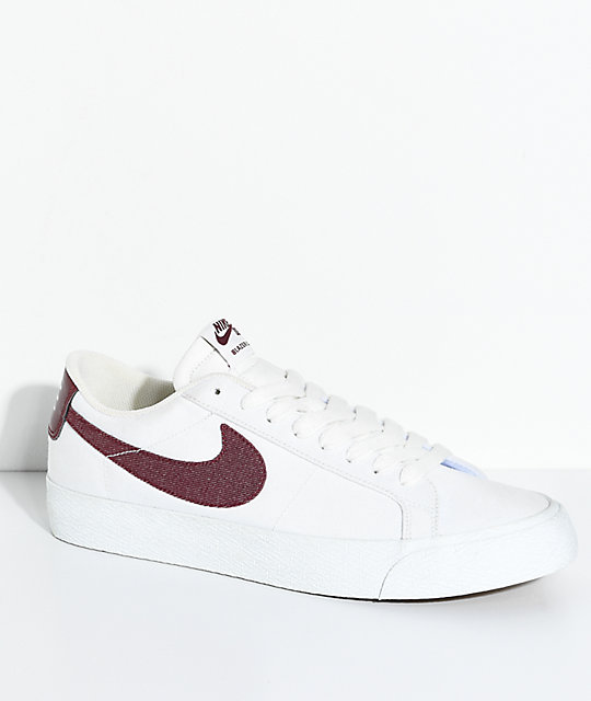 Nike SB Blazer Zoom Summit White & Red Canvas Skate Shoes