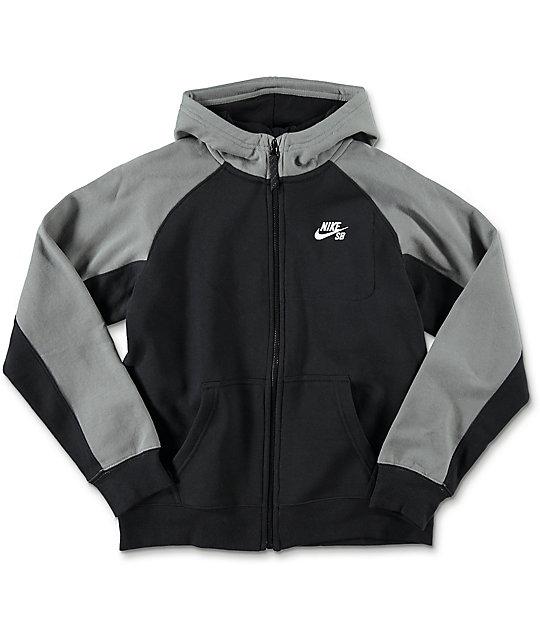 Nike SB Boys Everett Full Zip Black Hoodie | Zumiez