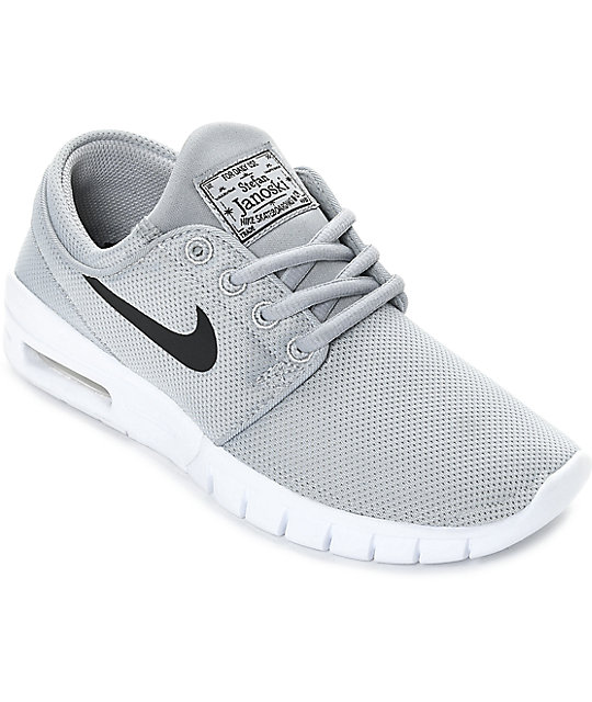 marketable factory outlet quality products Nike SB Boys Janoski Air Max Wolf Grey & White Skate Shoes