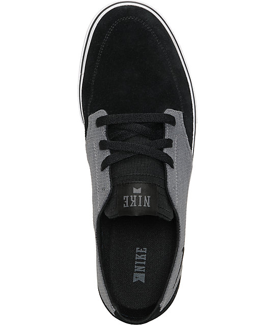 Nike SB Braata LR Black & Dark Grey Suede & Rip Stop Skate Shoes