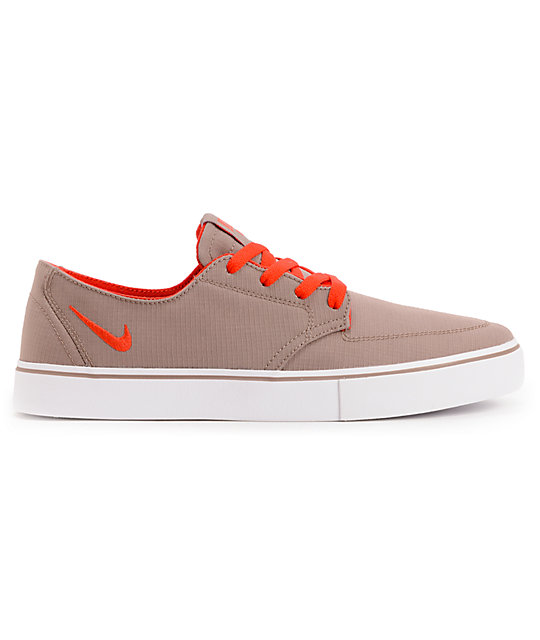 Nike SB Braata LR Taupe & Red Canvas Skate Shoes