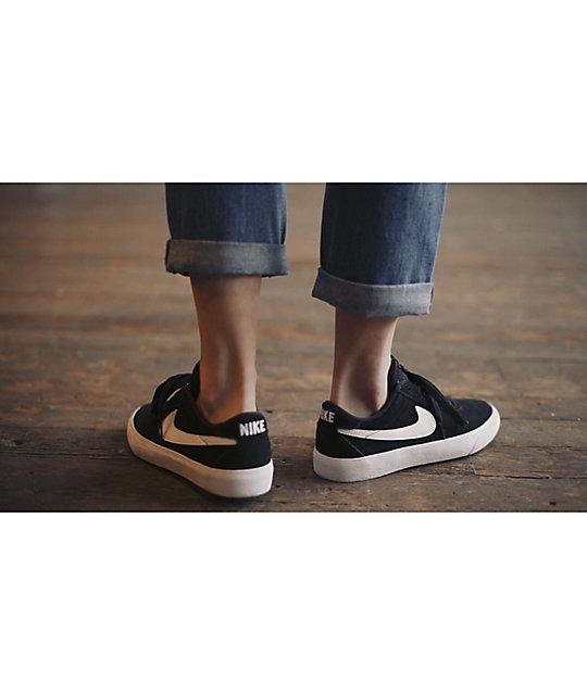 Nike SB Bruin Low Black & White Skate Shoes | Zumiez
