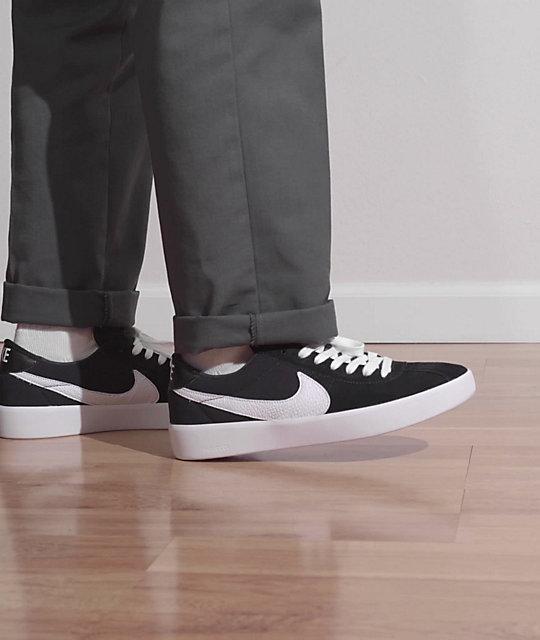 Nike SB Bruin React Black & White Skate Shoe   Zumiez