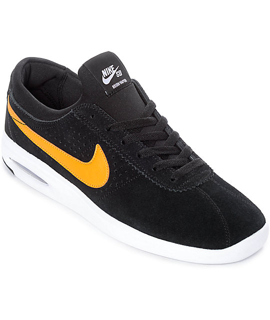 new style f61cc c6559 Nike SB Bruin Vapor Air Max All Black   Orange Skate Shoes   Zumiez